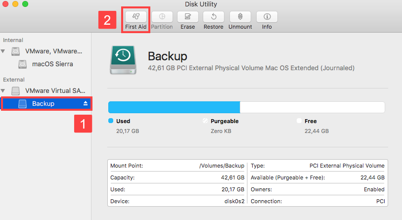Launch First Aid in Disk Utility