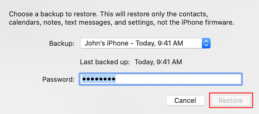 how to retrieve deleted text messages using finder backup