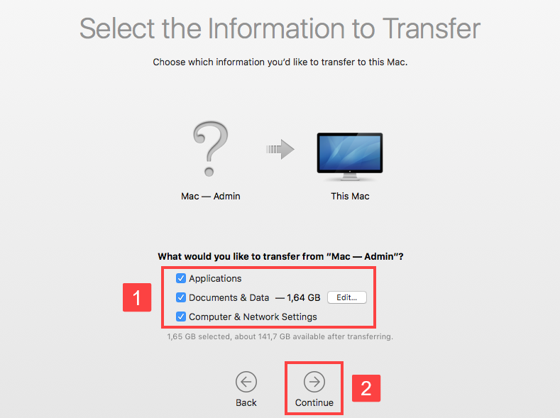 migration assistant select the information to transfer