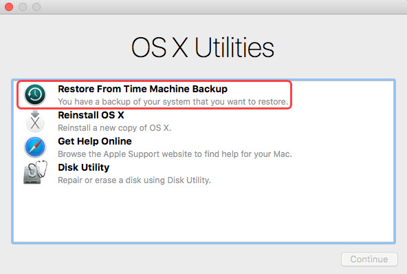 restore hard drive from time machine in recovery