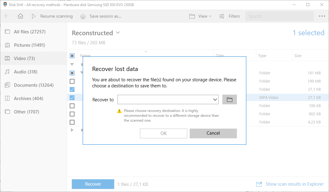 finish recover files