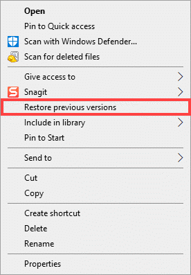 restore previous versions context menu
