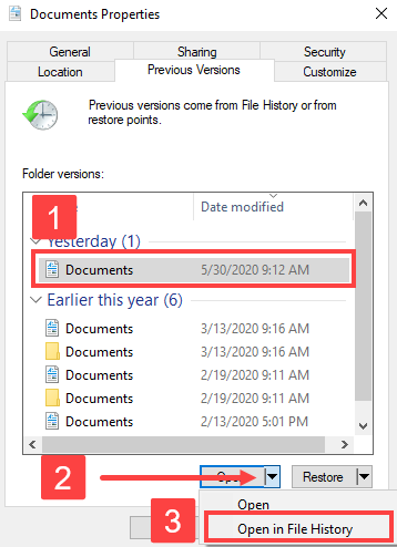 open in file history