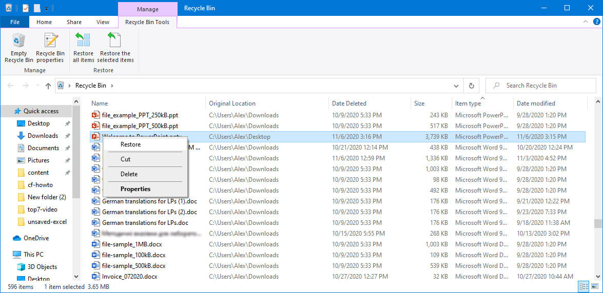 restore PowerPoint files from trash