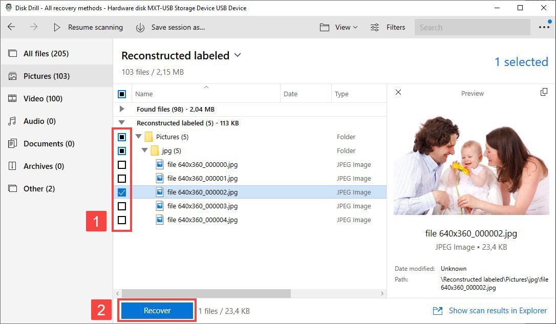 disk drill windows scan results preview selected - highlight