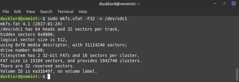 Terminal Format To FAT32
