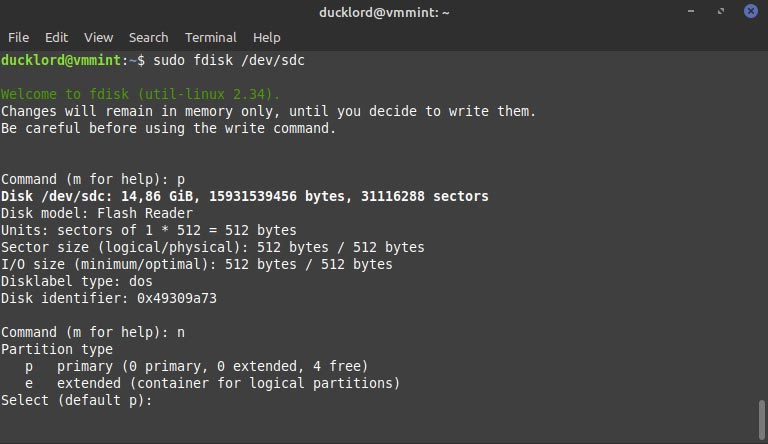 Terminal Partition Type