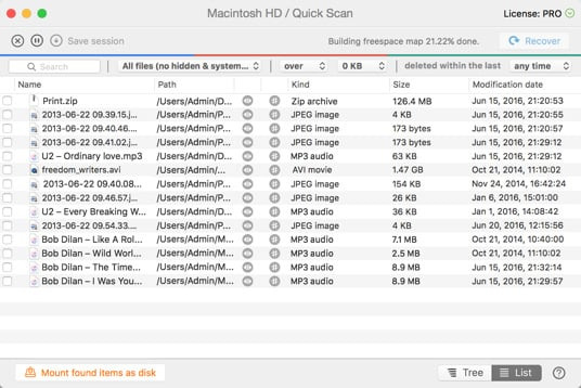 Quick Scan recovers files on your Mac OS X