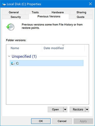 recover files from flash drive via file history